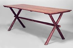 American Rustic Old Hickory oak top rectangular dining picnic table with cross leg design and stretcher. Old Hickory, Oak Dining Table, Picnic Table, Rustic, American, Furniture, Design, Home Decor, Country Primitive