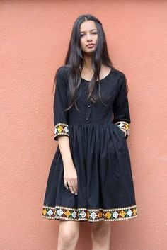 Boho Black Fit and Flare Dress with Banjara Border Indian Fashion Dresses, Frock Fashion, Dress Indian Style, Frock Models, Cute Simple Outfits, Simple Kurti Designs, Casual Frocks, Cotton Frocks, Designer Anarkali Dresses