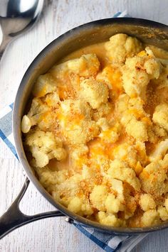 Lightened up creamy cauliflower gratin. You'll never miss the heavy cream!