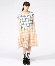mintdesigns(ミントデザインズ)のPRINT DRESS(ワンピース・ドレス)|オレンジ系その他