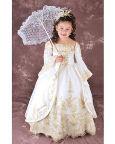 Ivory Ball Gown Square Neckline Long Sleeves Lace Up Floor Length Flower Girl Dresses With Gold Embroidery; $142.98