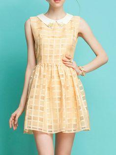 Beige Organza Check Mid Dress - Choies.com