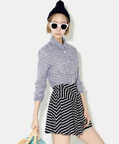 【Bluepops】2パタンストライプスカート