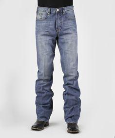 Blue Medium Wash Knee-Tacked Straight-Leg Jeans - Men's Regular