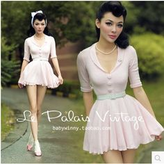2015-fashion-le-palais-vintage-retro-sweet-PIN-UP pink sweater