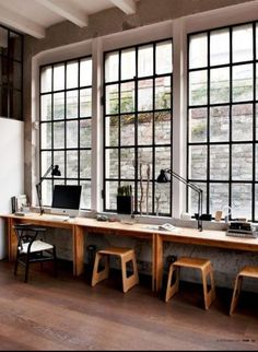Trendy Home Office Inspiration Awesome Work Stations Ideas Open Space Office, Office Workspace, Home Office Desks, Loft Office, Office Furniture, Ikea Office, Pipe Furniture, Office Spaces, Office Decor