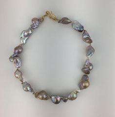 Multi Tone Iridescent Freshwater Baroque Pearls MN1309