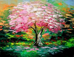 Landscape oil panting cherry blossom by SagittariusGallery on Etsy, $120.00
