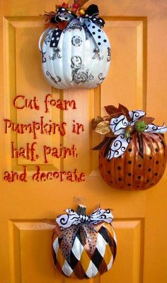 Cut Dollar Tree pumpkins in half, decorate, & hang Halloween and/or Fall decor Holidays Halloween, Halloween Crafts, Holiday Crafts, Holiday Fun, Halloween Decorations, Pumpkin Decorations, Halloween Pumpkins, Halloween Wreaths, Dollar Store Halloween