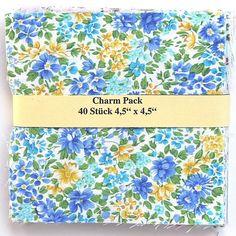 """Charm Pack - 40 Stoffe der Makower Kollektion 'Alison's Ditzy Florals' - 20 verschiedene Stoffe, jeweils zweimal - 40 x (4,5"""" x 4,5"""" - ~ 11,43 cm x 11,43 cm) asc-470-5074"""