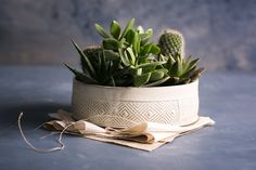 White Ceramic Planter Large Succulent planter by FreeFolding