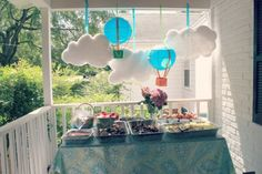 Hot Air Balloon Themed First Birthday - Dear Baby - do the ribbon over the top of the balloons like this to attach to baskets.