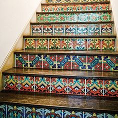Santa Barbara style tile for stairs Life Design, House Design, Tile Stairs, Tiled Staircase, Basement Stairs, Mosaic Stairs, Basement Ceilings, Deco Boheme Chic, Stair Risers