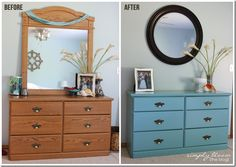 Painted Laminate Dresser Makeover * Homemade Chalk Paint : Simply Bloom Blog
