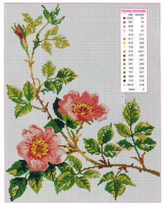 Cross Stitch - 50 color schemes and compositions Dmc Cross Stitch, Cute Cross Stitch, Cross Stitch Borders, Cross Stitch Flowers, Cross Stitch Designs, Cross Stitching, Cross Stitch Patterns, Rose Embroidery, Cross Stitch Embroidery