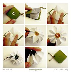 Daisy book based on star book folding by Ciaee Origami Paper, Diy Paper, Paper Art, Paper Crafts, Kirigami, Book Crafts, Diy And Crafts, Daisy Books, Paper Book