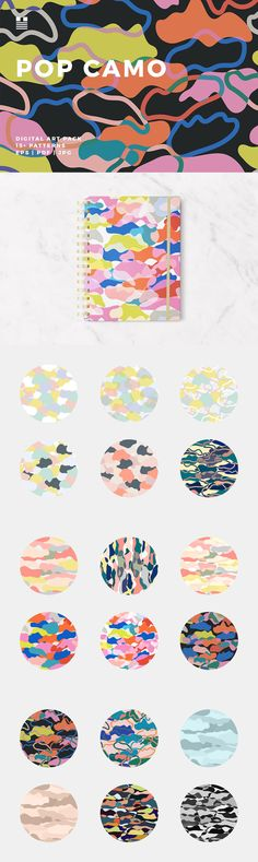 Enjoy this set of peace-lovin' contemporary camo-style patterns. The designs are in soft pastels and bold bright colorways.  Use these patterns for packaging, invitations, cards, gift wrap, wallpaper, notebook and book covers, social media banners, blog headers, Instagram posts, flyers, posters, fabric prints, stationery, collage, photo layering and masking, within typographic designs, etc.  Set includes 19 seamless patterns. Image files are 16″x16″ EPS, PDF and JPG files.  An affiliate…
