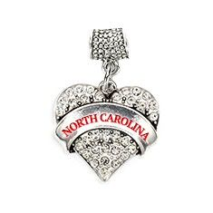 North Carolina Pave Heart Memory Charm