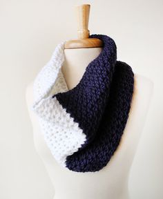 colorblocked knit cowl / infinity scarf in soft merino wool