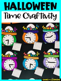 Create a really cute Halloween display with this Halloween time craft - children color the cauldron, choose a time to show on the clock then write about this time on Halloween. Halloween Math, Halloween Ideas, Math Games, Math Activities, Math For Kids, Crafts For Kids, Telling Time Activities, Maths Display, Math Crafts