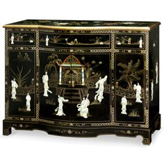 Black Lacquer Mother of Pearl Console - Melina Japanese Furniture, Asian Furniture, Chinese Furniture, Oriental Furniture, How To Clean Furniture, Console Furniture, Lacquer Furniture, Painted Furniture, Antique Chairs