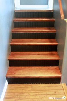 from carpet to hardwood: stair makeover using tread caps