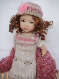 Handknitted OUTFIT for  LITTLE DARLING doll - 13 inches  (Dianna Effner). SOLD for $56.00 on 2/3/15