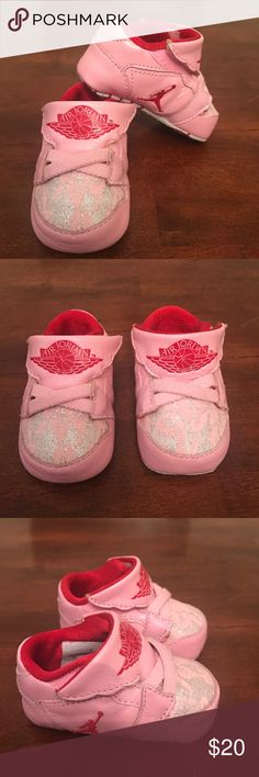 💕Nike Baby Jordan Sneakers💕 Sweet and sporty! These little sneakers are so adorable! Has a lace detail and easy velcro closure. Excellent condition never worn and comes with box! Nike Shoes Sneakers