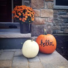 Fall front porch..write on pumpkin