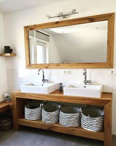 Vanity to match the mirror also made of old oak wood. Continue with the family series 👯♀️👯♂️Bathroom. Today with the big … rnrnSource by mmmwoodwood Beach Theme Bathroom, Think Small, Double Vanity, Storage Spaces, Matcha, Room Decor, Layout, Wood, Furniture