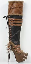 HADES VENTAIL Brown Steampunk Gothic Gas Mask Inspried Viking Punk Thigh Boots