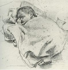 On this day, 13th June , 150 years ago #WBYeats was born. His dad, the artist John Yeats, drew this picture of his baby son