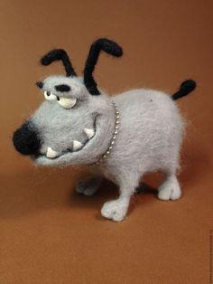 Купить Собачка из шерсти - серый, смешная собака, собачка, игрушечная собака, игрушка с юмором