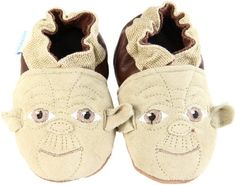 Robeez soft sole shoes. My 2yo has the Yoda pair. They're adorable and last a long time. $27