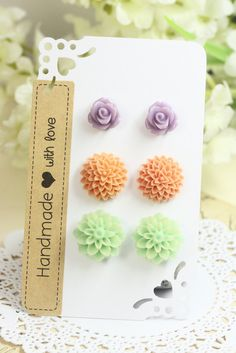 Lavender Rose Posts, Coral Pink Mums Studs Earrings, Pale Turquoise Mums Posts, Bridesmaids Earstuds under 10, Flowergirls Earrings for Girl by TrinketHouse on Etsy