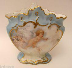 Lovely Hand Painted Antique Limoges Porcelain Vase Cupid Roses D&Co. 1900