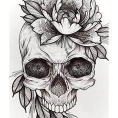 Cool Skull Tattoos For Women – My hair and beauty Tattoo Sketches, Tattoo Drawings, Body Art Tattoos, Sleeve Tattoos, Tattoo Pink, 1 Tattoo, Skull Tattoo Flowers, Flower Tat, Tattoo Outline Drawing