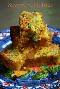 Sumanarthy's Kitchen: Guest Post by Priya Ranjit: Savory Semolina Cake Savory Snacks, Snack Recipes, Cooking Recipes, Quick Snacks, Breakfast Recipes, Tasty Snacks, Cupcake Recipes, Cooking Tips, Vegan Recipes