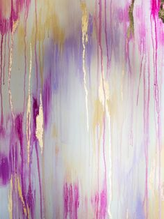 Drip Art Painting - hold canvas up and drip acrylic paint down the canvas, then spray with water to dilute. Add gold or silver leaf detail.