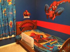 If your boy is one of the fans of the blue and red superhero, then you may want to consider giving him a treat of the Spiderman themed bedroom. Kids Bedroom Designs, Boys Bedroom Decor, Kids Room Design, Bedroom Themes, Bedroom Ideas, Bedroom Furniture, Superhero Room, Red Superhero, Spiderman Theme