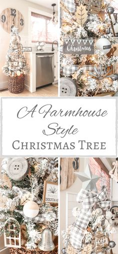 A Farmhouse Style Christmas Tree Country Christmas Trees, Flocked Christmas Trees, Beautiful Christmas Trees, Woodland Christmas, Colorful Christmas Tree, Christmas Tree Themes, Rustic Christmas, Christmas Baby, White Christmas