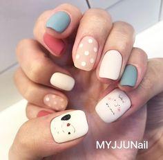 Trendy Nail Art, Cute Nail Art, Cute Nails, Aycrlic Nails, Swag Nails, Manicures, Snoopy Nails, Korean Nails, Japanese Nail Art