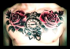 Roses, rose buds and ornate pocket watch chest piece tattoo on an Englishman in Los Angeles. Repin if u like! :-)