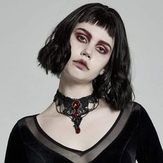Brand:Punk Rave Material:Polyester Weight:0.037KG Size:One Size Sku:WS-469LHF Ruby Pendant, Gothic Fashion, Vintage Fashion, Punk Rave, S Girls, Embroidered Lace, Halloween Face Makeup, Women's Accessories, Floral Prints
