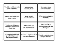 Therapeutic Jenga: These questions spark a lot of conversation, help build rapport, encourage self-expression and let me gather some great information in an engaging way. Play like regular jenga but...