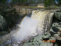 Check out these guys kayaking Noccolula Falls: http://vimeo.com/33079315  90 foot waterfall in alabama