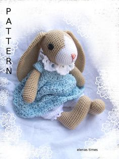Crochet Pattern-Rag Doll Bunny with Dress and Bloomers