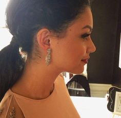 Sneak peek! Bianca Santos ABC's The Fosters rocking earrings from our upcoming Holiday line to her #nyfw runway shows this afternoon.
