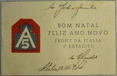 Cartão com emblema do quinto exército, escrito da Itáli..