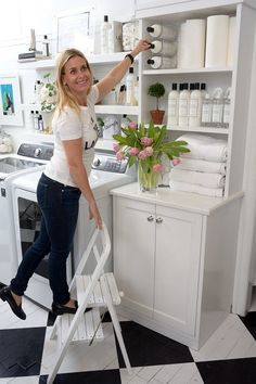 Gwen gets a leg up with the White Wooden Stool, so she can finally reach that backup Laundress Signature Detergent! Mudroom Laundry Room, Laundry Room Organization, Laundry Room Design, Kitchen Step Stool, Modern Laundry Rooms, Diy Rangement, Room Interior, Interior Design Living Room, Folding Stool